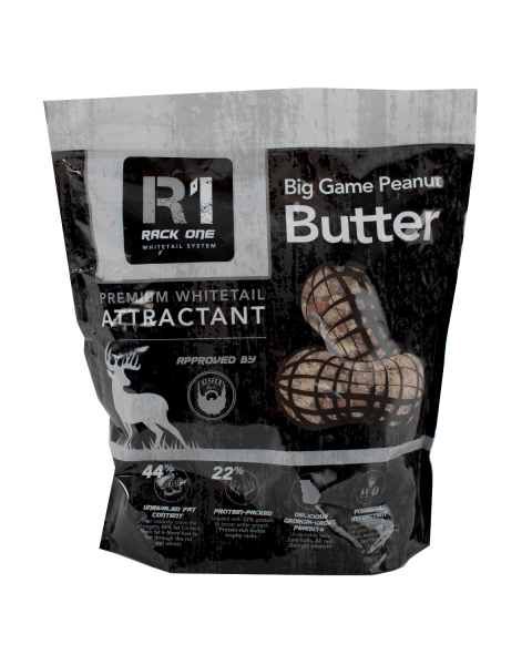 Big Game Peanut Butter premium whitetail attractant. Peanut Flavored.